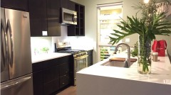 The kitchen in the modular Greenbuild home